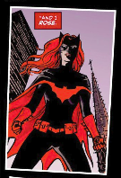 "Batwoman, a costumed superhero in black and red, with the text ""And I rose."""